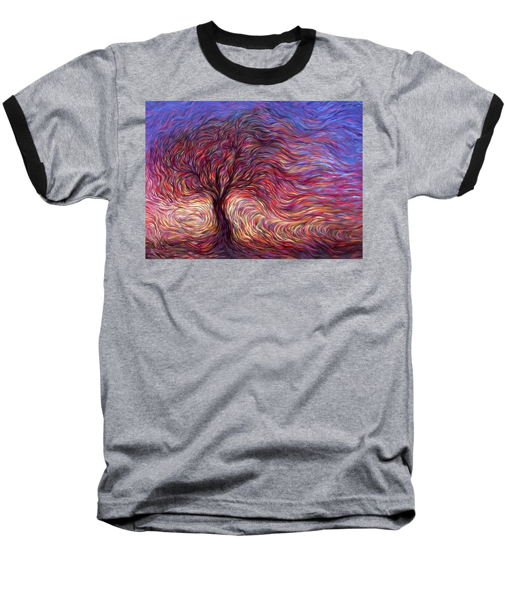 Tree Baseball T-Shirt featuring the painting Sunset Tree by Hans Droog