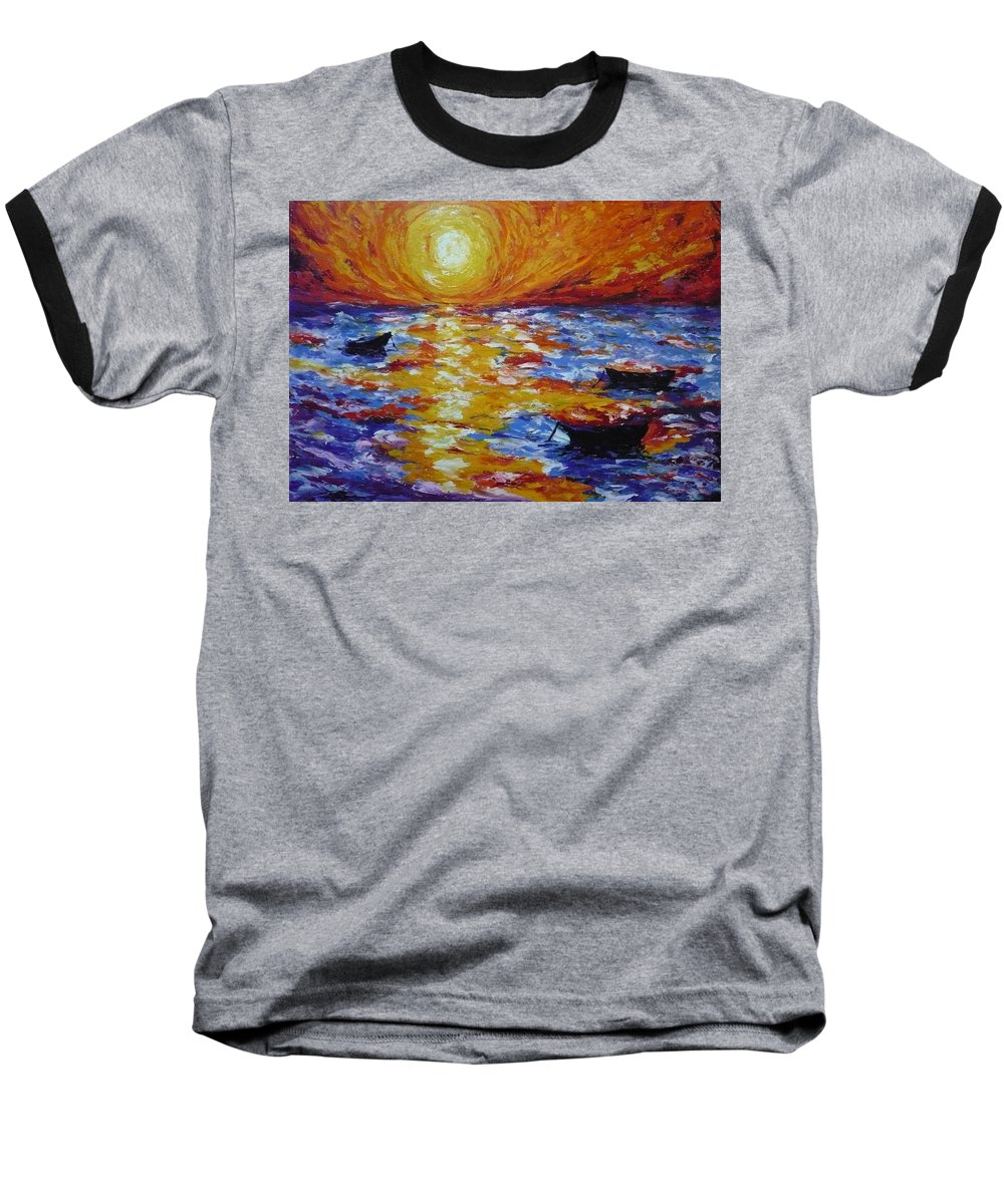 Landscape Baseball T-Shirt featuring the painting Sunset With Three Boats by Ericka Herazo