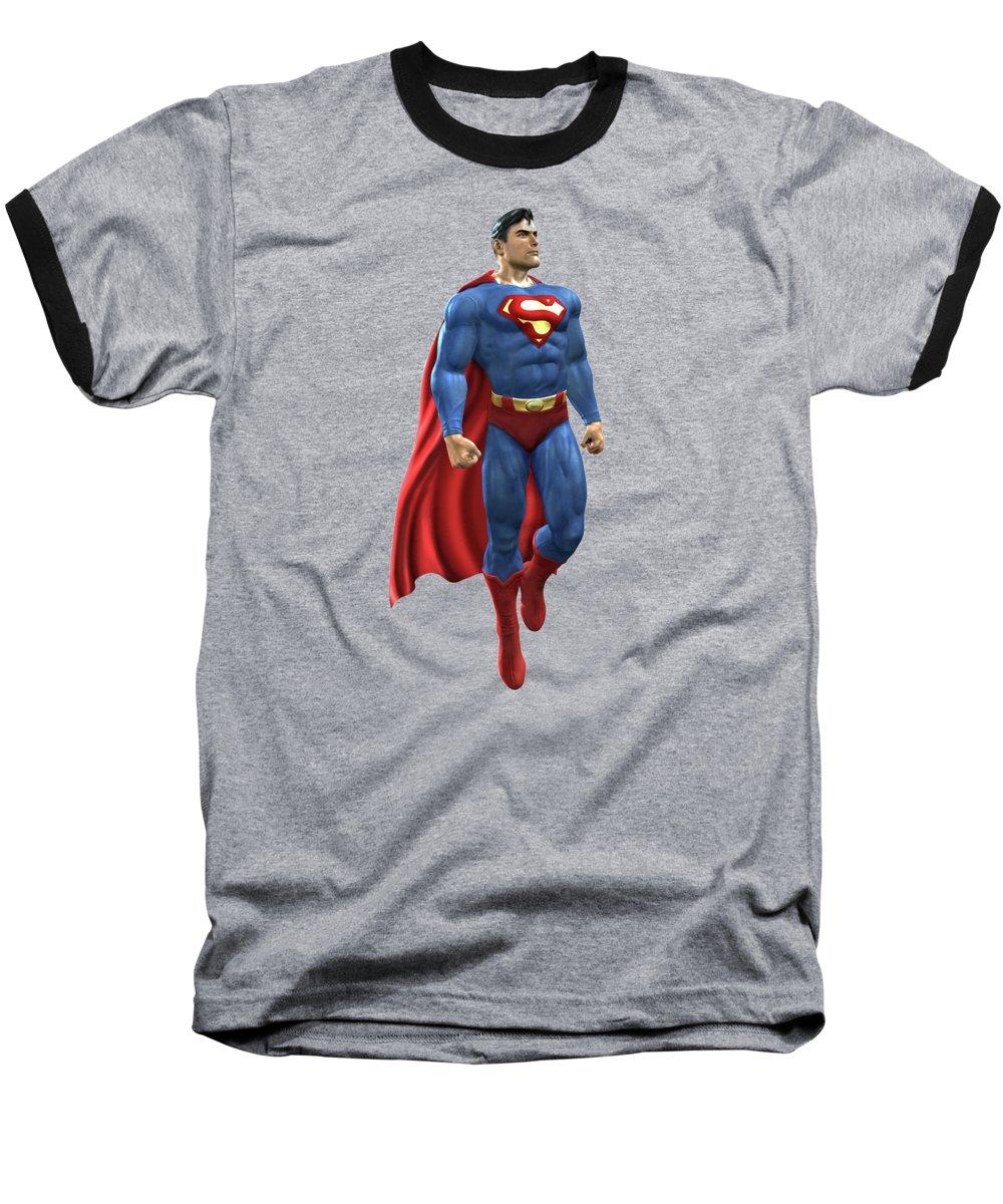 Superman Baseball T-Shirt featuring the mixed media Superman Splash Super Hero Series by Movie Poster Prints