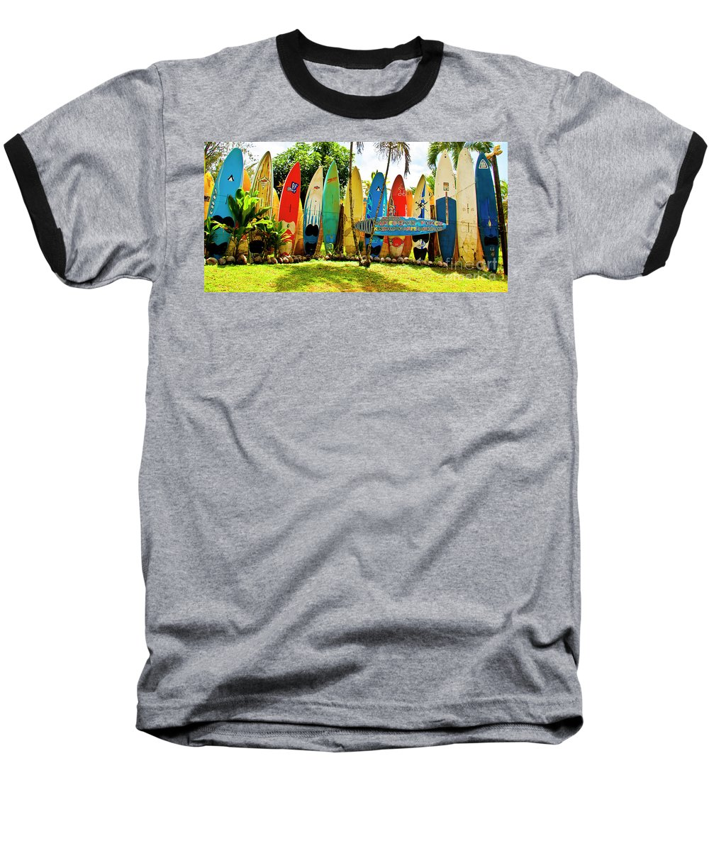 Surfboard Baseball T-Shirt featuring the photograph Surfboard Fence II-the Amazing Race by Jim Cazel