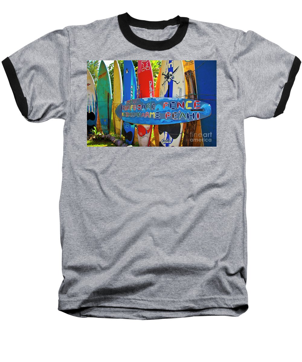 Surfboards Baseball T-Shirt featuring the photograph Surfboard Fence-the Amazing Race by Jim Cazel