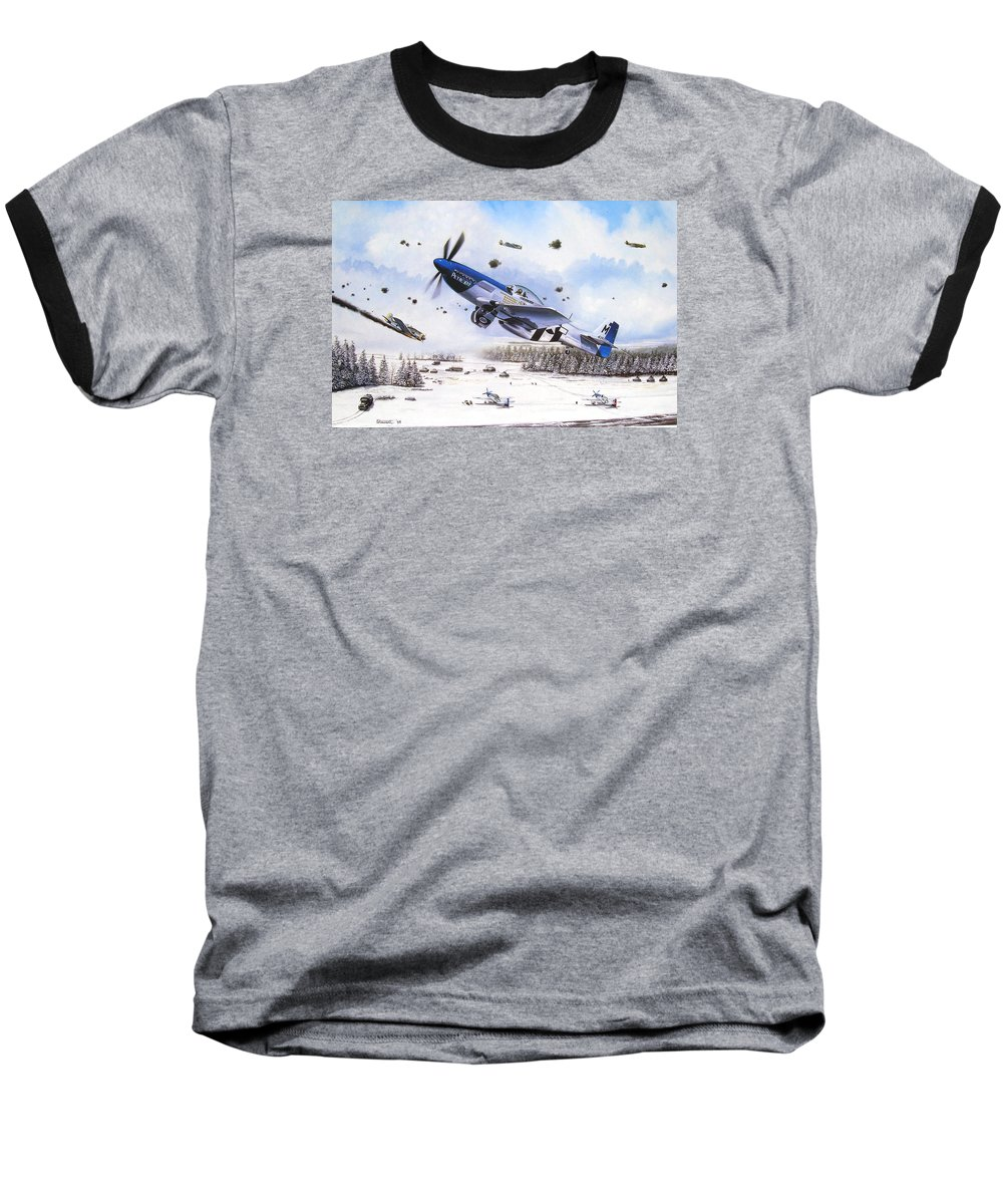 Aviation Baseball T-Shirt featuring the painting Surprise At Asch by Marc Stewart