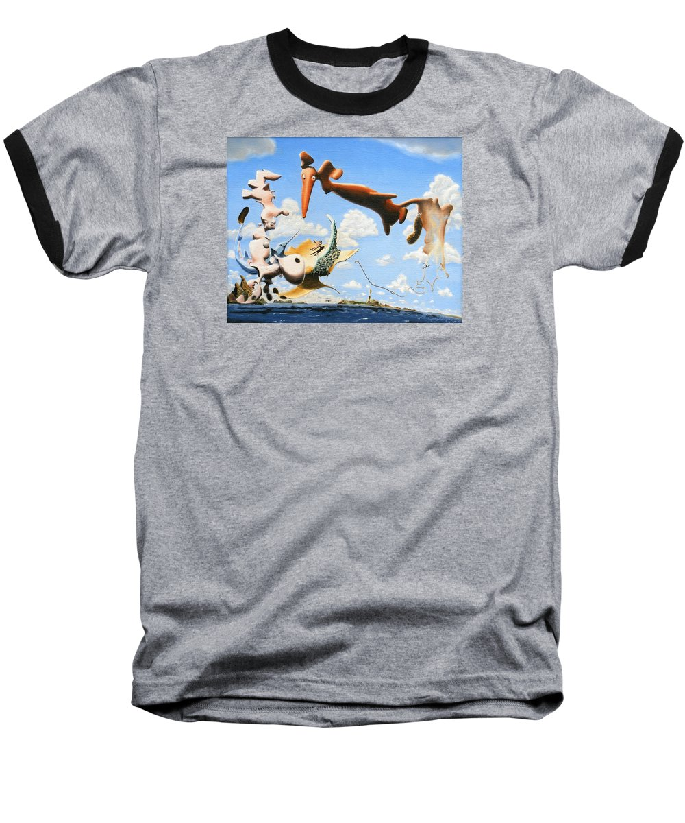 Surreal Baseball T-Shirt featuring the painting Surreal Friends by Dave Martsolf