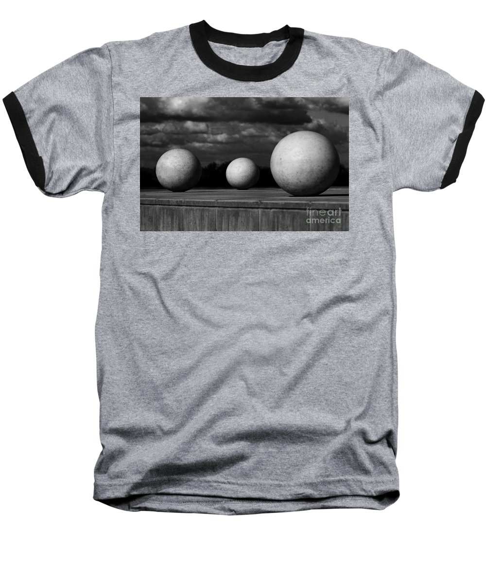 Black And White Baseball T-Shirt featuring the photograph Surreal Globes by Peter Piatt