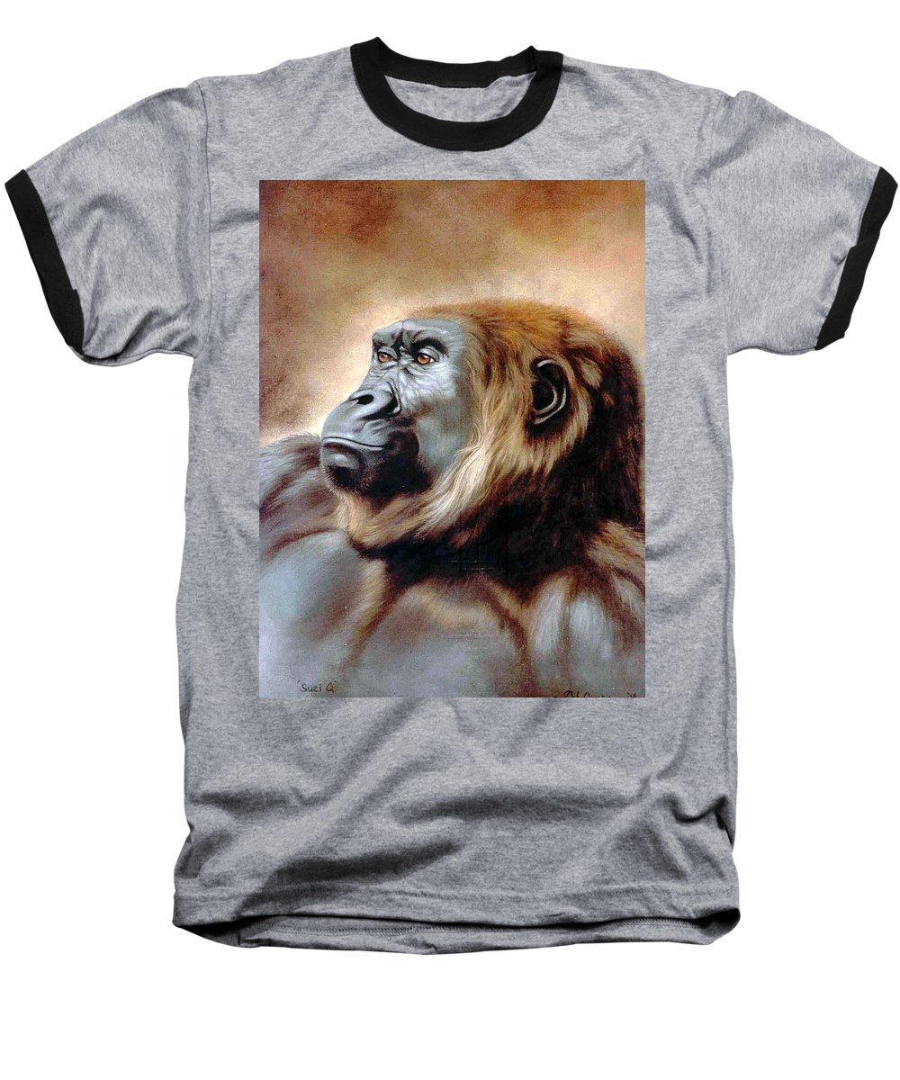 Gorilla Baseball T-Shirt featuring the painting Suzie Q by Deb Owens-Lowe