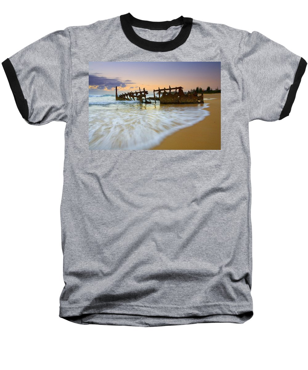 Shipwreck Baseball T-Shirt featuring the photograph Swallowed By The Tides by Mike Dawson