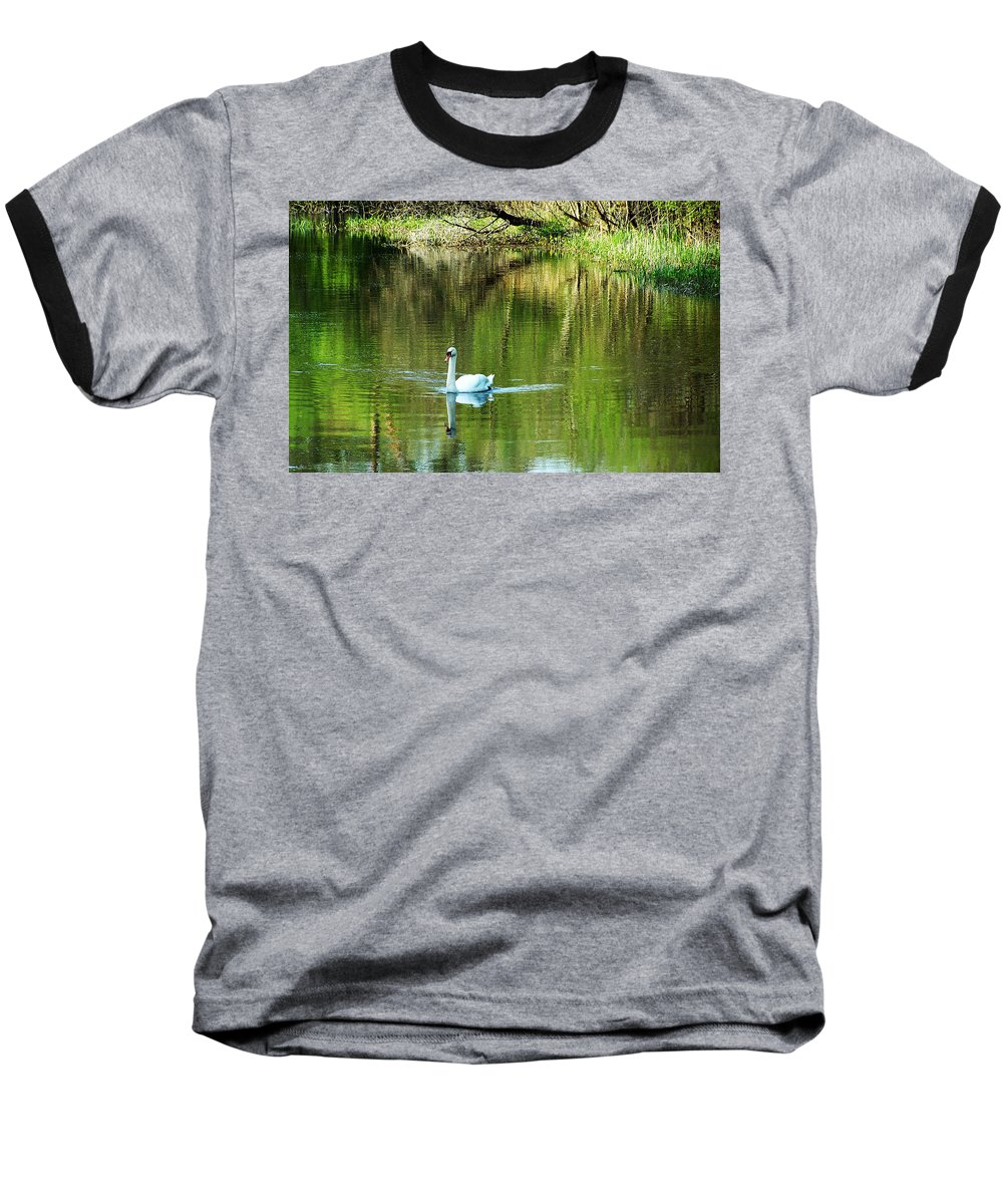 Irish Baseball T-Shirt featuring the photograph Swan On The Cong River Cong Ireland by Teresa Mucha