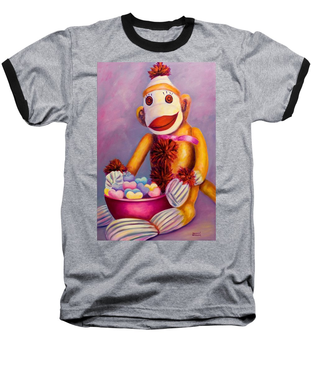Heart Baseball T-Shirt featuring the painting Sweetheart Made Of Sockies by Shannon Grissom