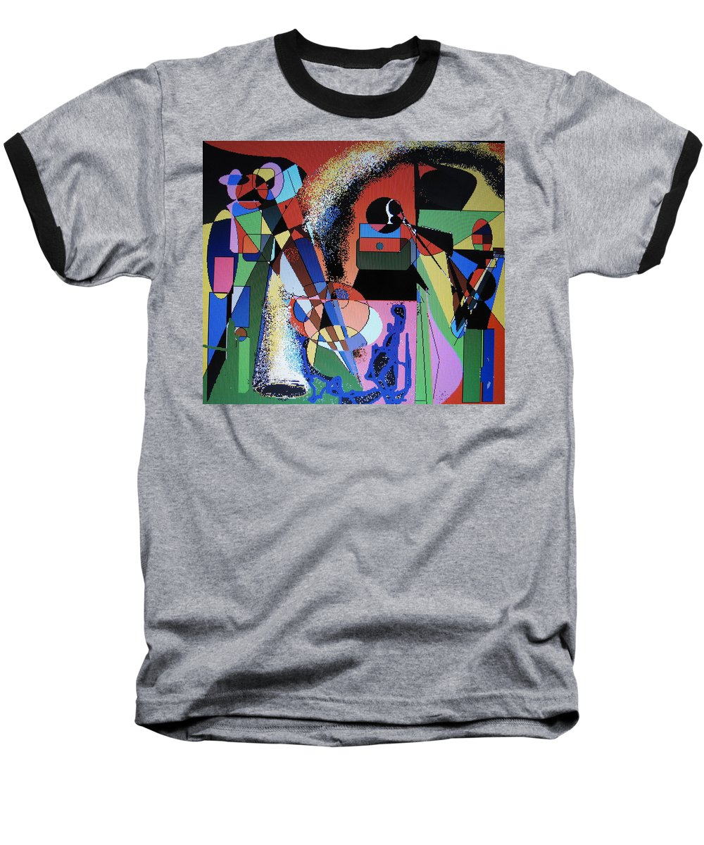 Jazz Baseball T-Shirt featuring the digital art Swinging Trio by Ian MacDonald