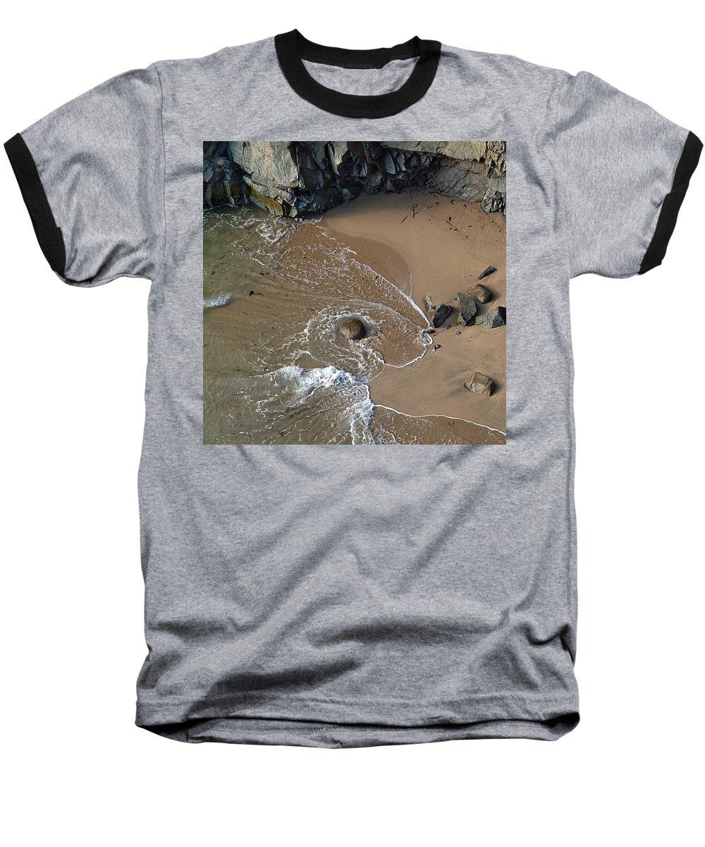 Big Sur Baseball T-Shirt featuring the photograph Swirling Surf And Rocks by Charlene Mitchell