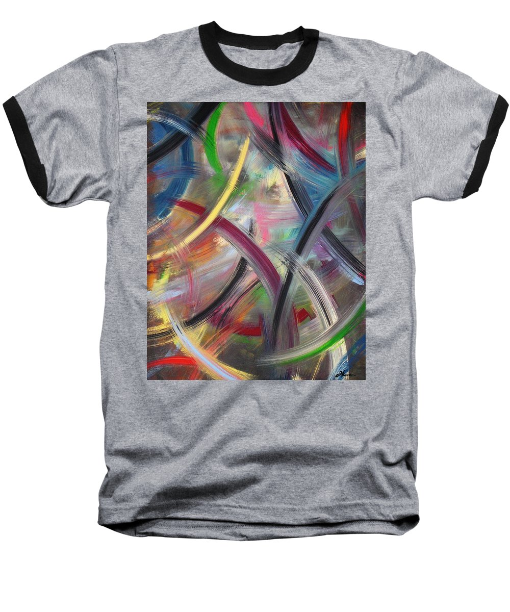 Acrylic Baseball T-Shirt featuring the painting Swish by Todd Hoover