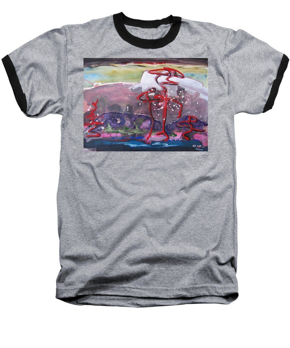 Abstract Paintings Baseball T-Shirt featuring the painting Table Land3 by Seon-Jeong Kim