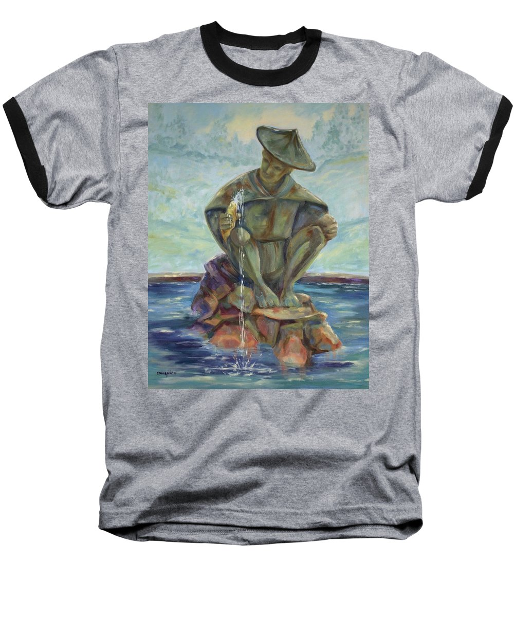 Landscape Baseball T-Shirt featuring the painting Taipei Fountain by Ginger Concepcion