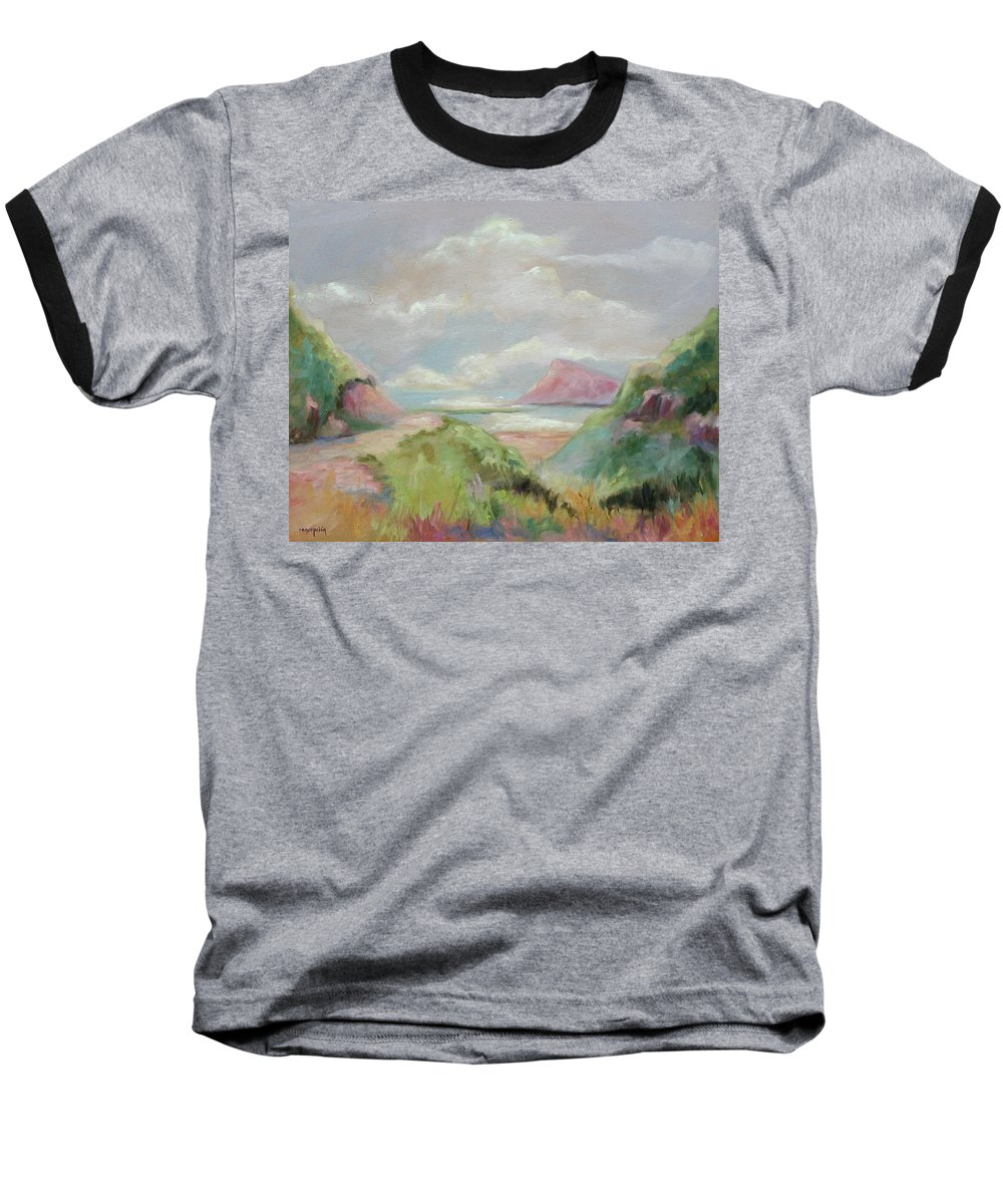 Seascape Baseball T-Shirt featuring the painting Taiwan Inlet by Ginger Concepcion
