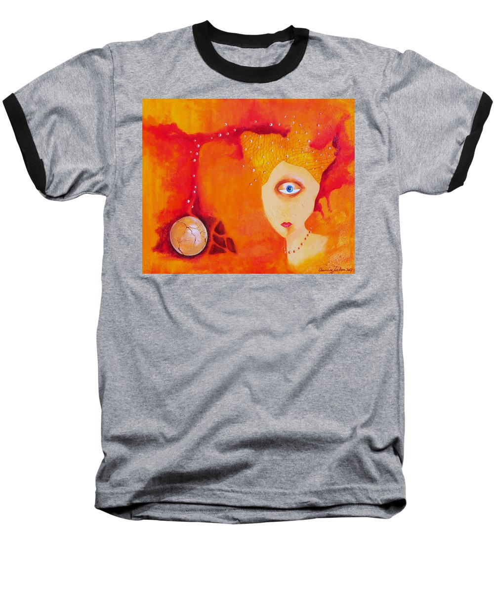 Tangerine Orange Eyes Woman Pearls Thoughts Life Egg Baseball T-Shirt featuring the painting Tangerine Dream by Veronica Jackson