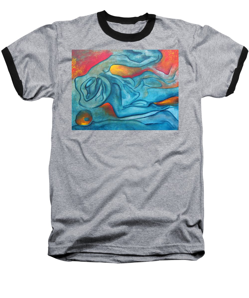 Abstract Blues Love Passion Sensual Earth Baseball T-Shirt featuring the painting Tangled Up by Veronica Jackson