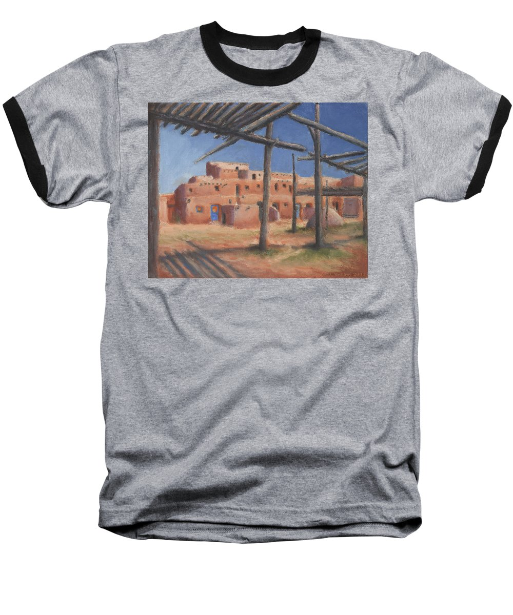 Taos Baseball T-Shirt featuring the painting Taos Pueblo by Jerry McElroy