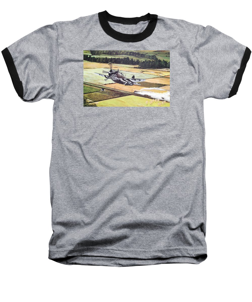 Military Baseball T-Shirt featuring the painting Target Of Opportunity by Marc Stewart