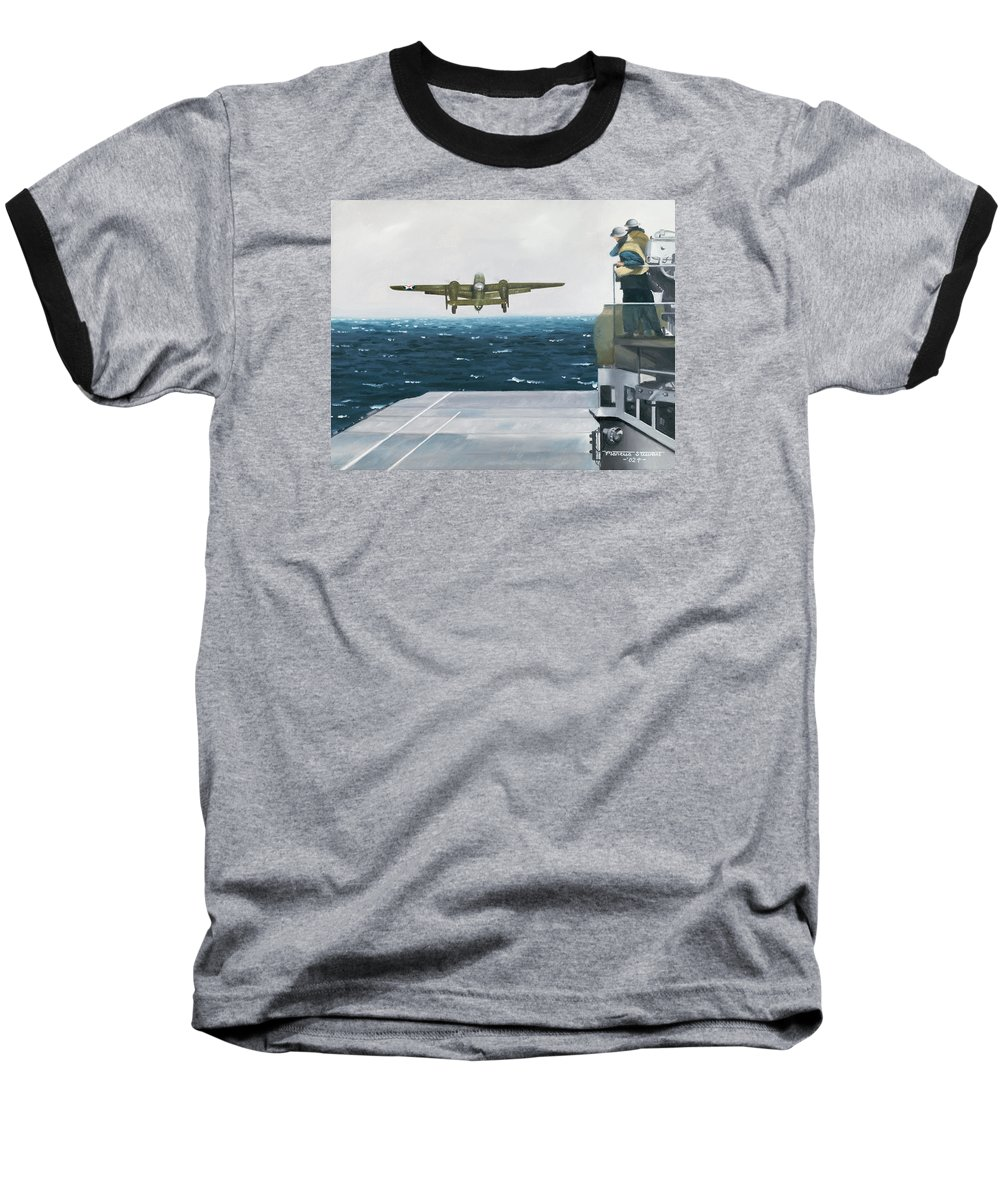 Aviation Baseball T-Shirt featuring the painting Target Tokyo by Marc Stewart