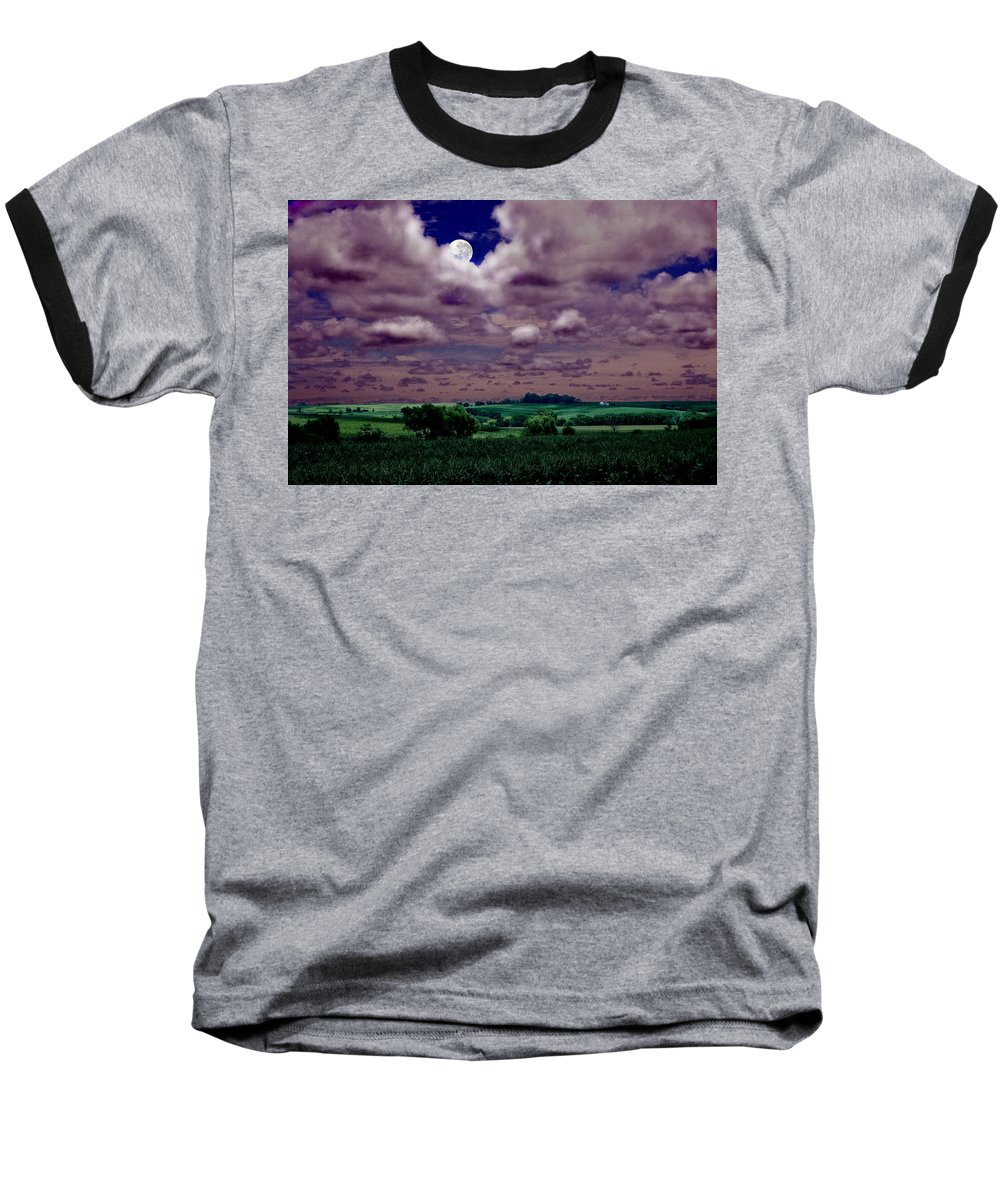 Landscape Baseball T-Shirt featuring the photograph Tarkio Moon by Steve Karol