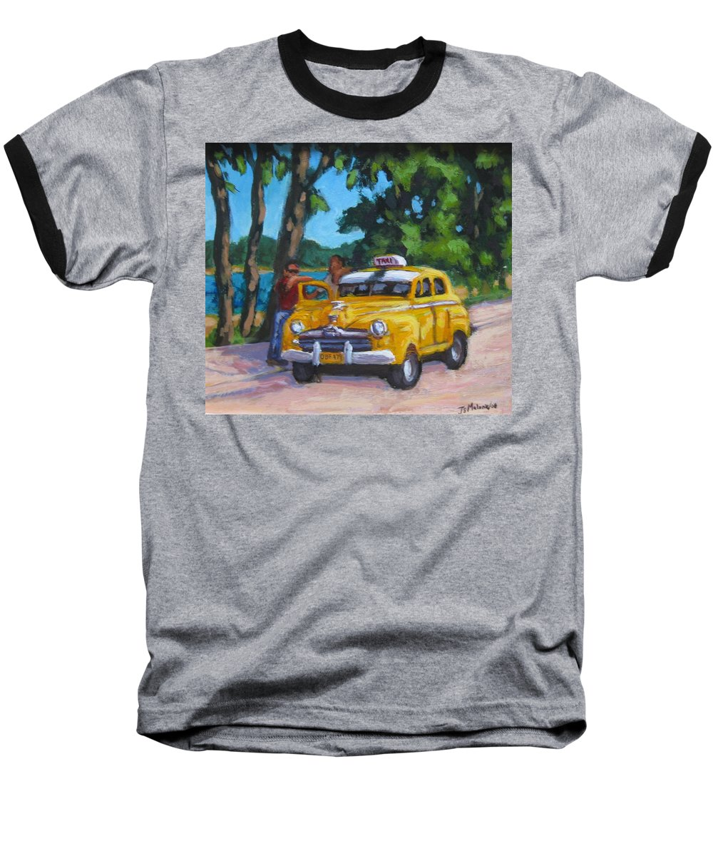 Old Cars Baseball T-Shirt featuring the painting Taxi Y Amigos by John Malone