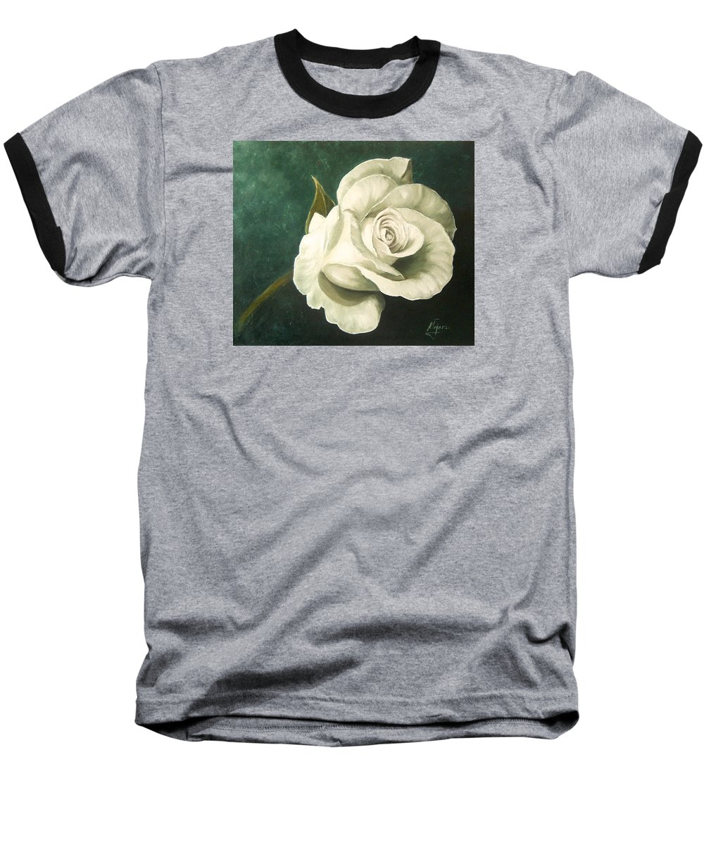 Rose Flower Still Life White Baseball T-Shirt featuring the painting Tea Rose by Natalia Tejera