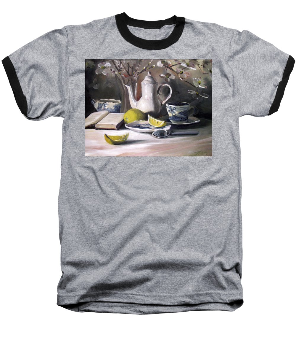Lemon Baseball T-Shirt featuring the painting Tea With Lemon by Nancy Griswold