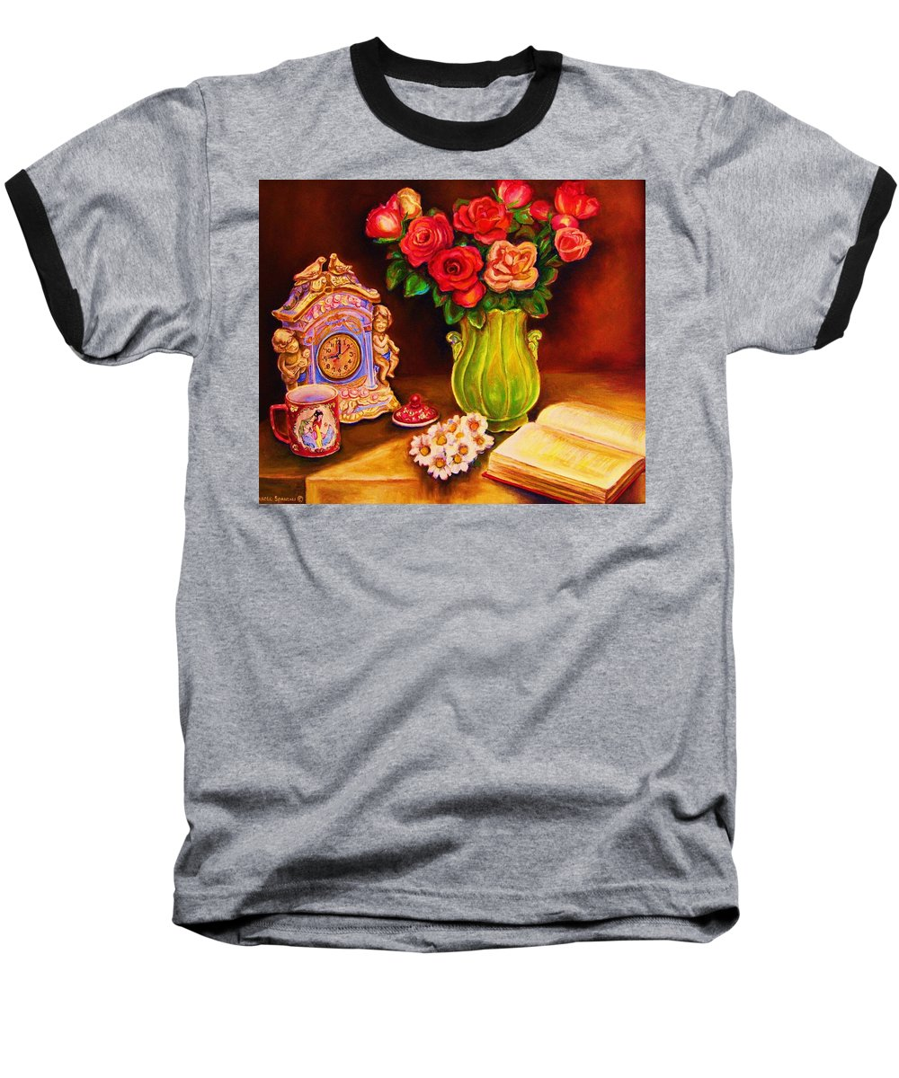Impressionism Baseball T-Shirt featuring the painting Teacup And Roses by Carole Spandau