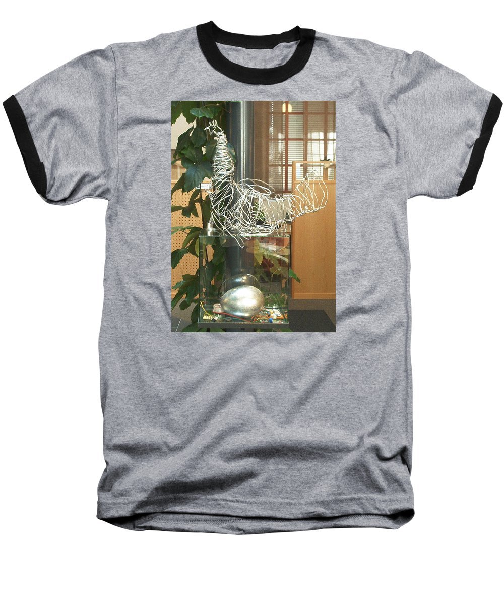 Baseball T-Shirt featuring the sculpture Techno Hen by Jarle Rosseland