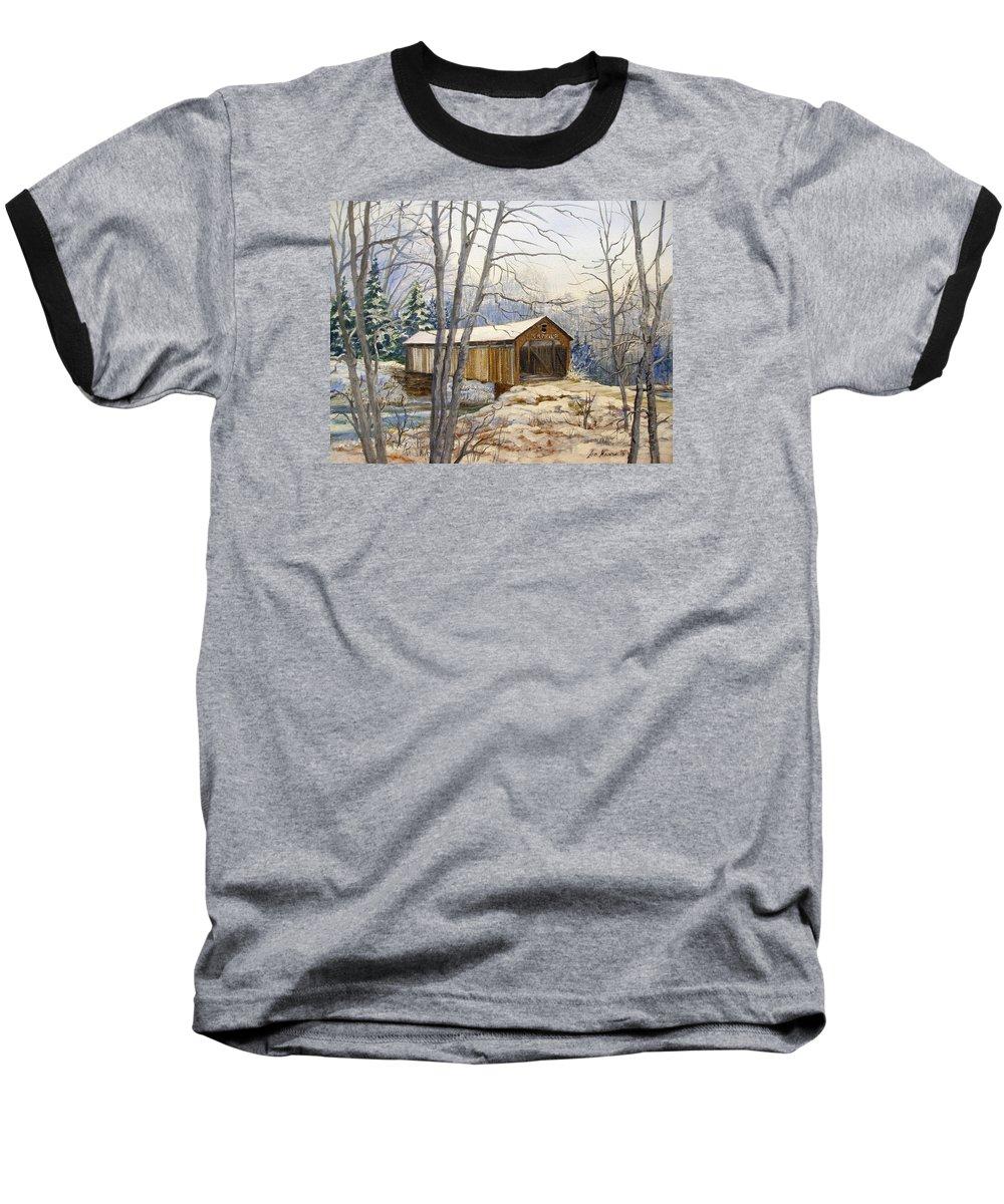 Oil Painting;bridge;covered Bridge;winter Scene;snow;landscape;winter Landscape; Baseball T-Shirt featuring the painting Teegarden Covered Bridge In Winter by Lois Mountz