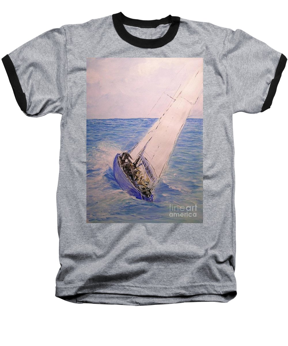 Seascape Baseball T-Shirt featuring the painting Tell Tails In The Wind by Lizzy Forrester