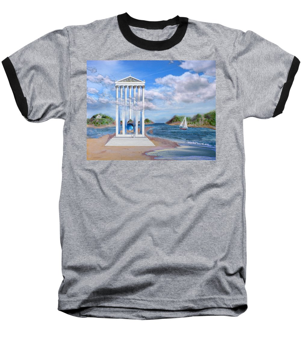 Landscape Baseball T-Shirt featuring the painting Temple For No One by Steve Karol