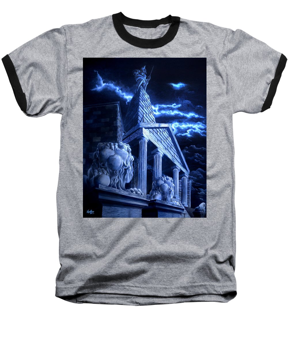 Hercules Baseball T-Shirt featuring the drawing Temple Of Hercules In Kassel by Curtiss Shaffer