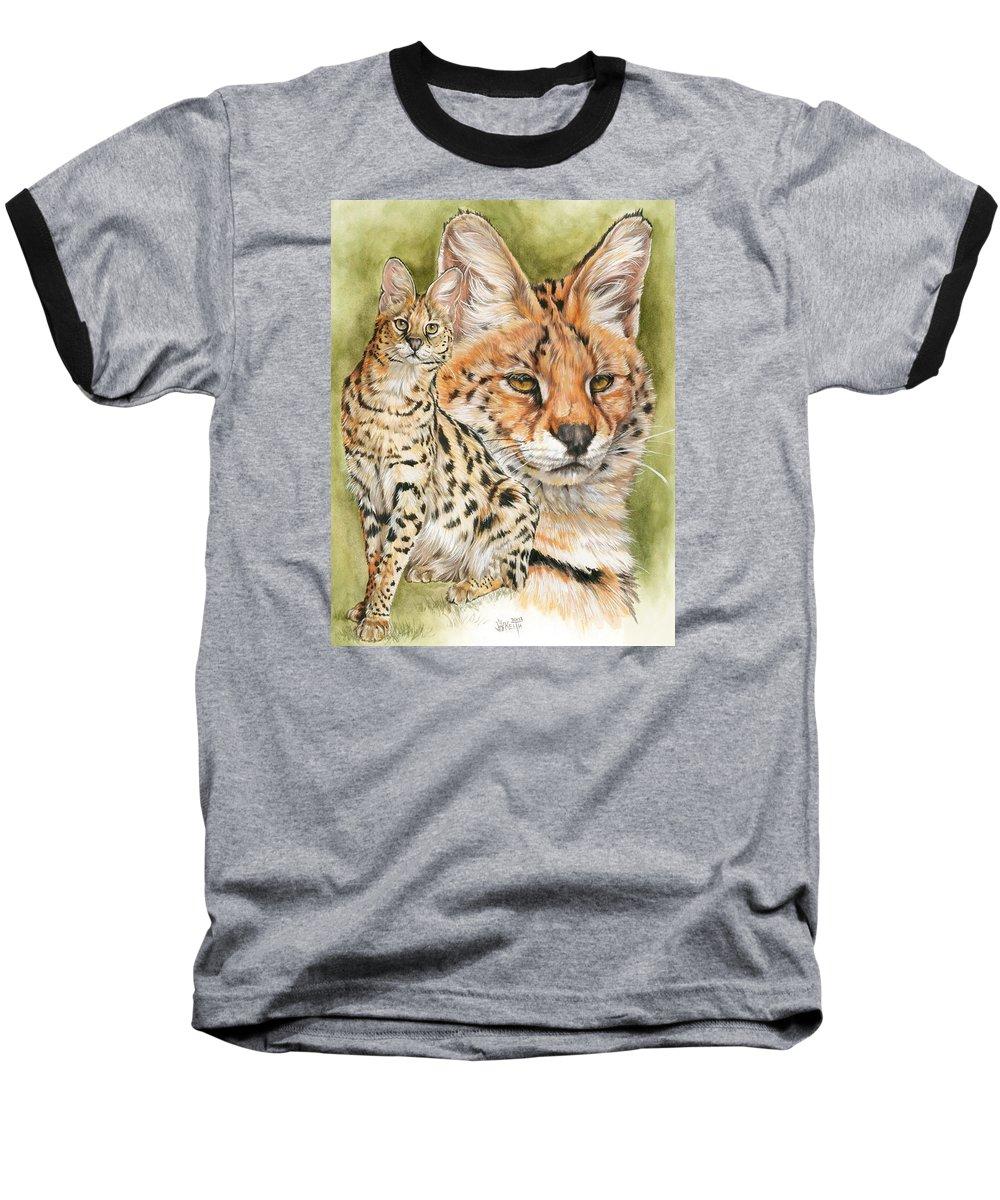 Serval Baseball T-Shirt featuring the mixed media Tempo by Barbara Keith
