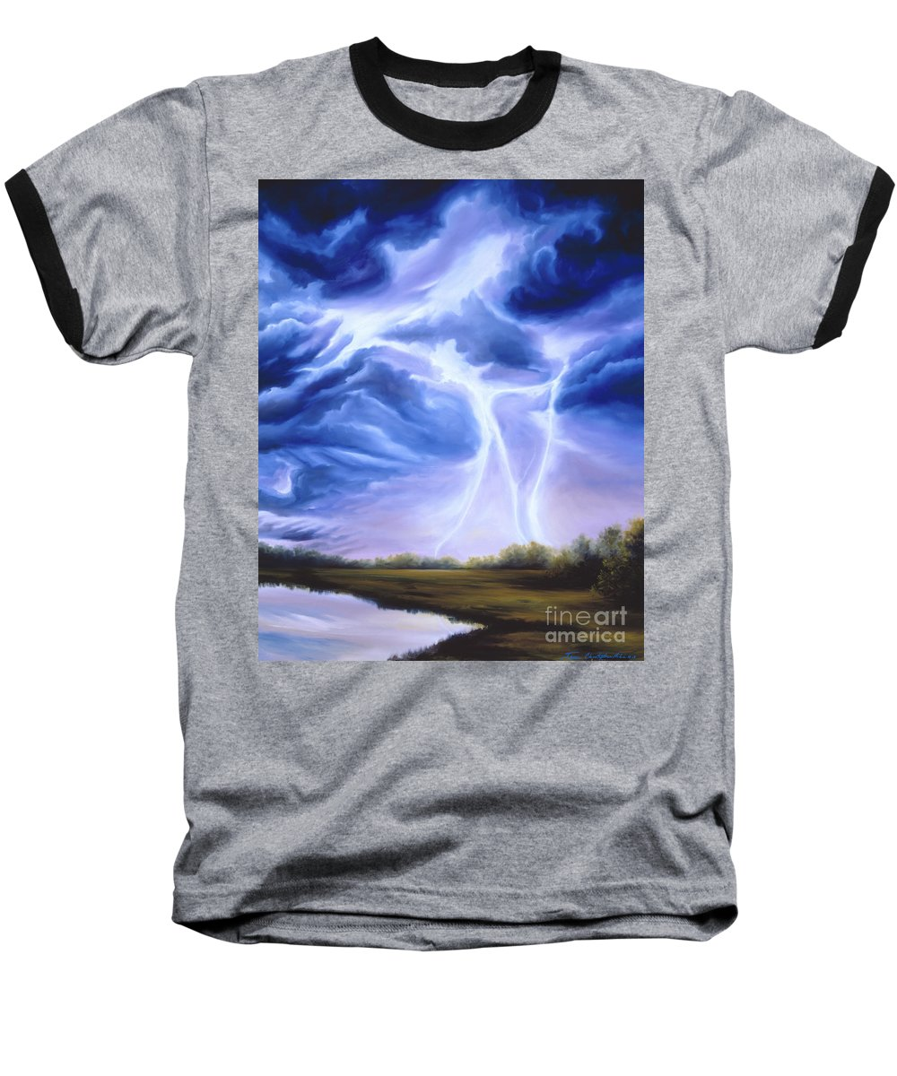 Marsh Baseball T-Shirt featuring the painting Tesla by James Christopher Hill
