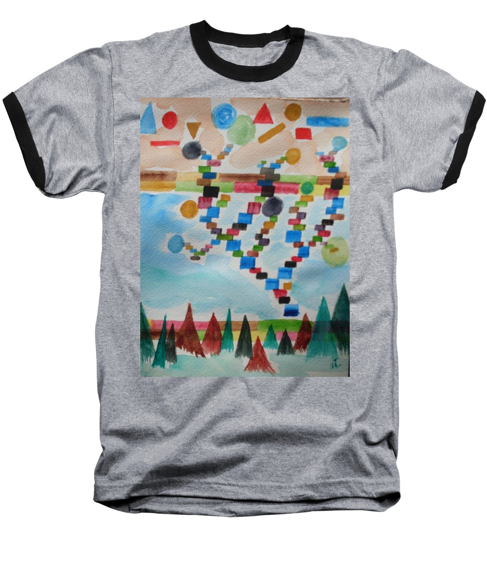 Abstract Baseball T-Shirt featuring the painting Tetrus Meets Nature by Warren Thompson