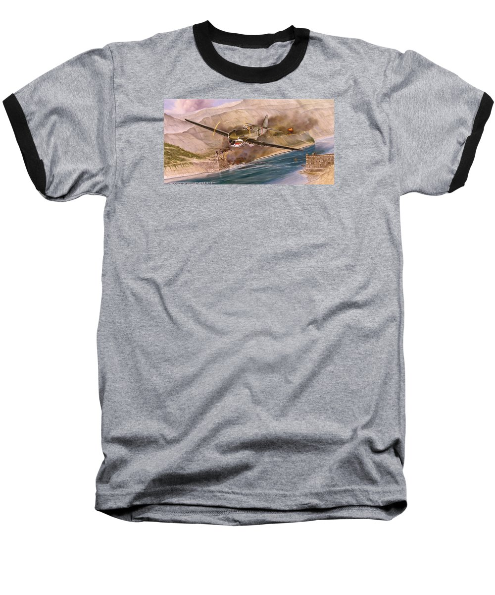 Painting Baseball T-Shirt featuring the painting Tex Hill Over The Salween Gorge by Marc Stewart