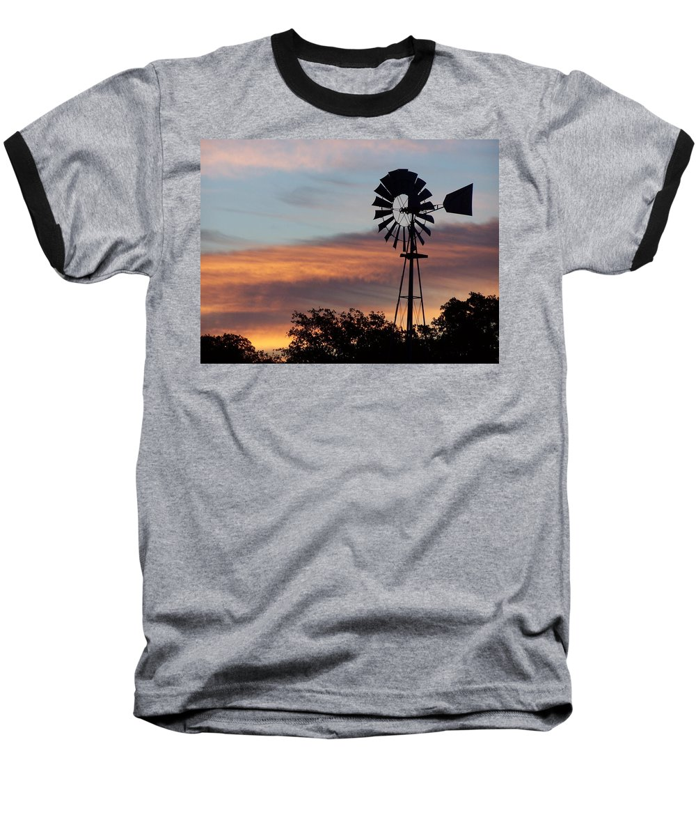 Windmill Baseball T-Shirt featuring the photograph Texas Sunrise by Gale Cochran-Smith