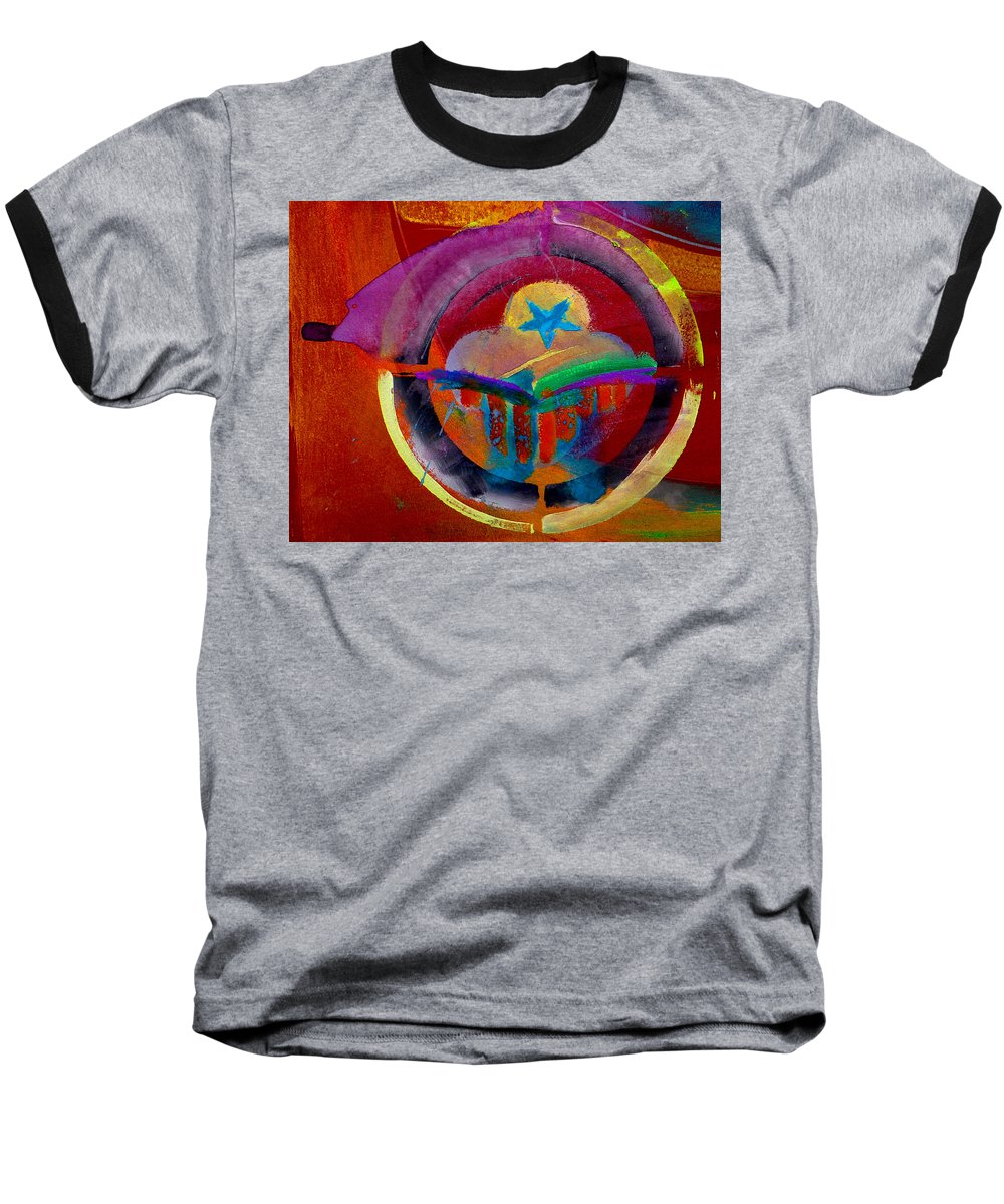 Button Baseball T-Shirt featuring the painting Texicana by Charles Stuart