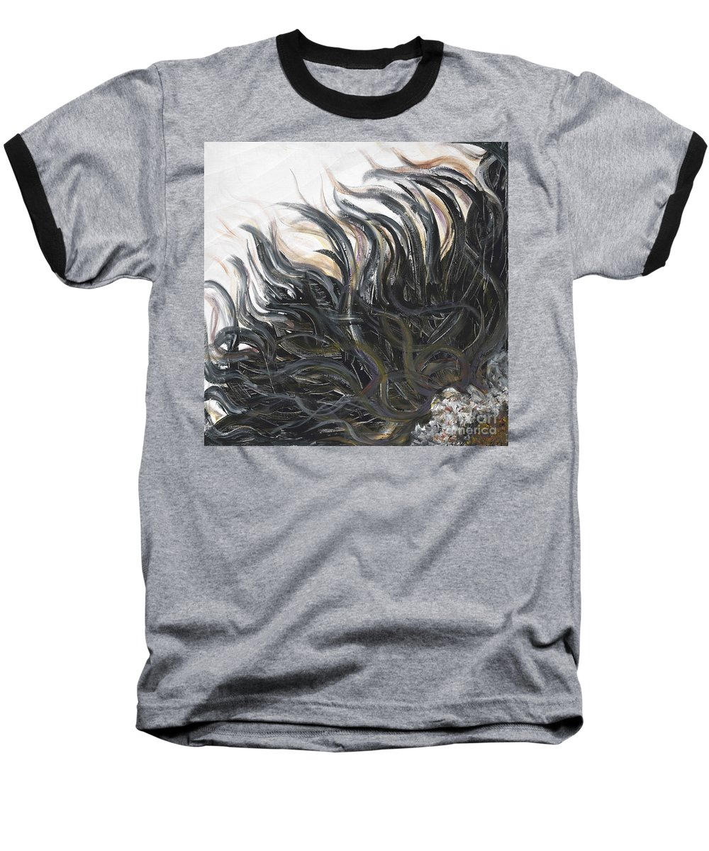 Texture Baseball T-Shirt featuring the painting Textured Black Sunflower by Nadine Rippelmeyer
