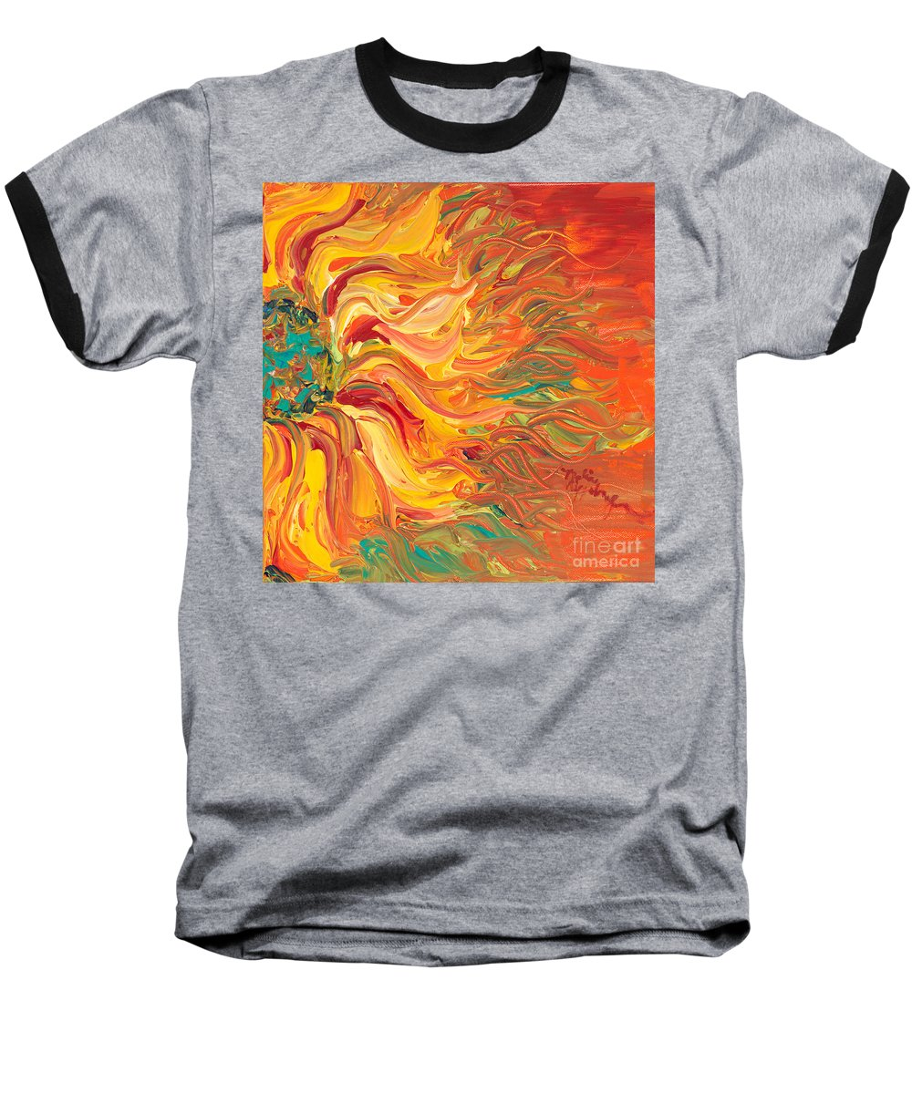 Sunjflower Baseball T-Shirt featuring the painting Textured Fire Sunflower by Nadine Rippelmeyer