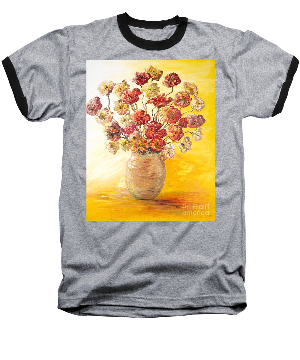 Flowers Baseball T-Shirt featuring the painting Textured Flowers In A Vase by Nadine Rippelmeyer