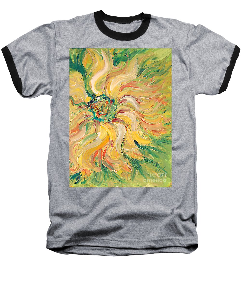 Texture Baseball T-Shirt featuring the painting Textured Green Sunflower by Nadine Rippelmeyer