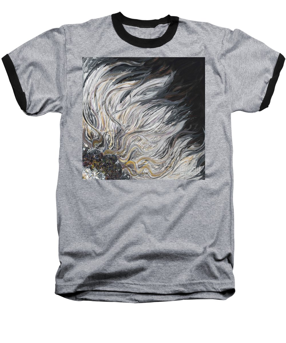 White Baseball T-Shirt featuring the painting Textured White Sunflower by Nadine Rippelmeyer
