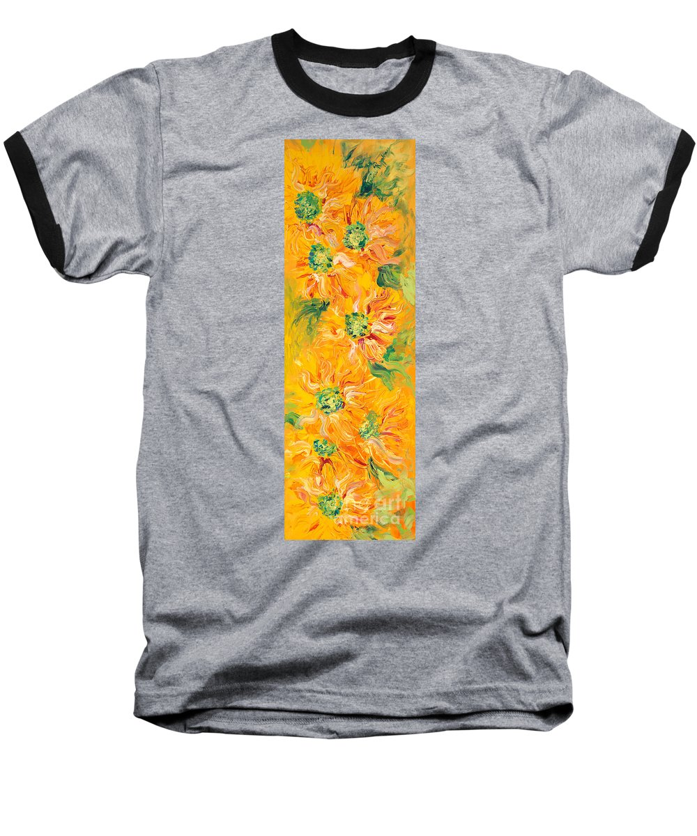 Yellow Baseball T-Shirt featuring the painting Textured Yellow Sunflowers by Nadine Rippelmeyer