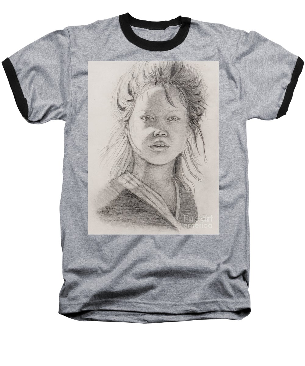 Portrait Baseball T-Shirt featuring the drawing Thai Beauty by Nadine Rippelmeyer