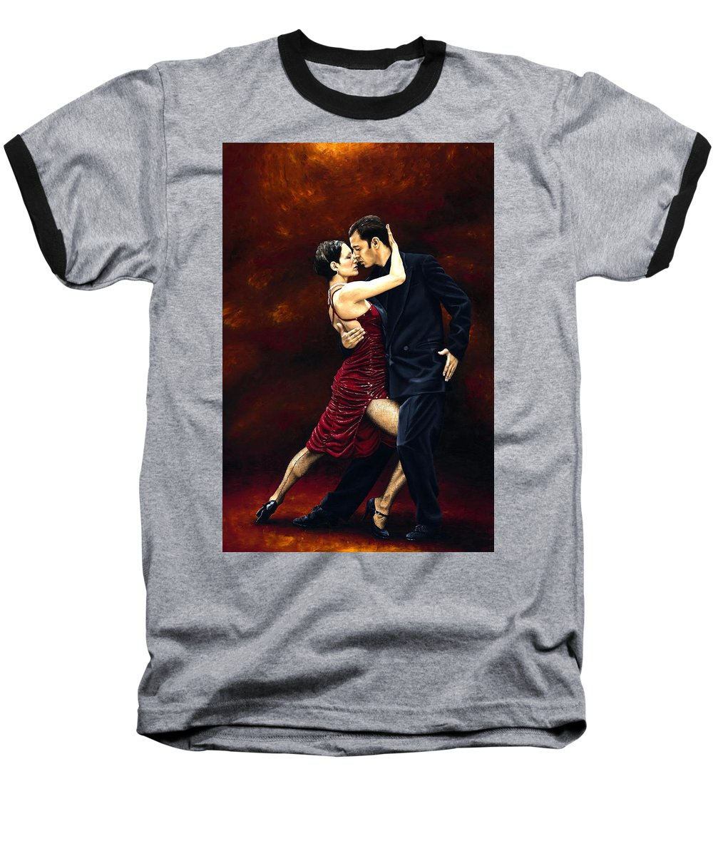 Tango Baseball T-Shirt featuring the painting That Tango Moment by Richard Young