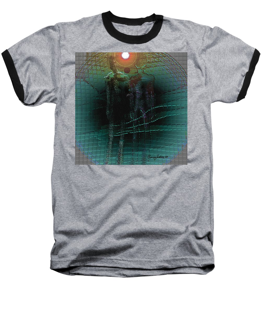 People Alien Arrival Visitors Baseball T-Shirt featuring the digital art The Arrival by Veronica Jackson