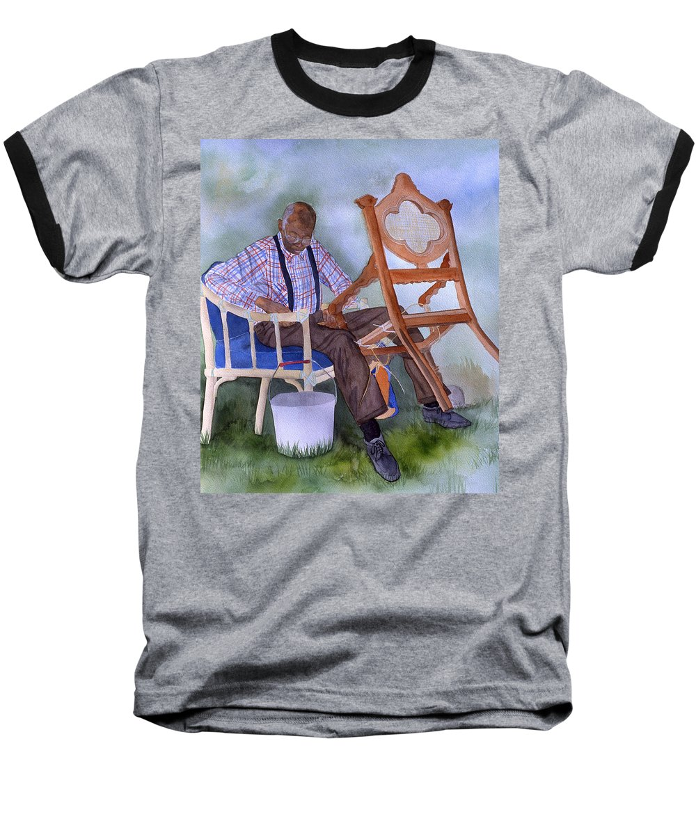 Portrait Baseball T-Shirt featuring the painting The Art Of Caning by Jean Blackmer