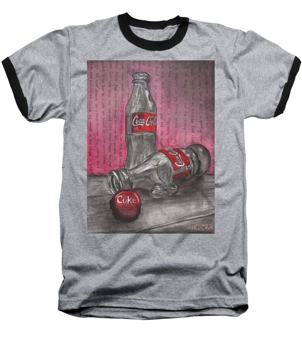 Coca Cola Bottles Still Life Baseball T-Shirt featuring the pastel The Art Of Coca Cola by Maria Kobalyan